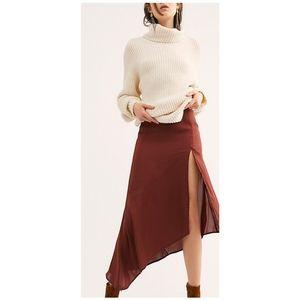 NWT Free People Lola Slit Skirt in Brick Brown